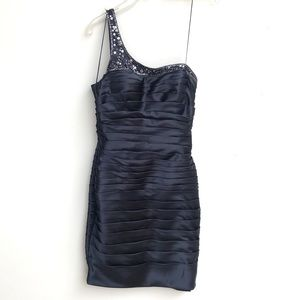 Adrianna Papell Navy One Shoulder Rouched Dress 8P